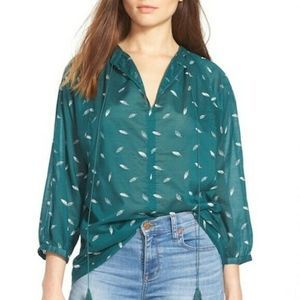 Madewell Fall Feathers Peasant Tie Neck Top XS